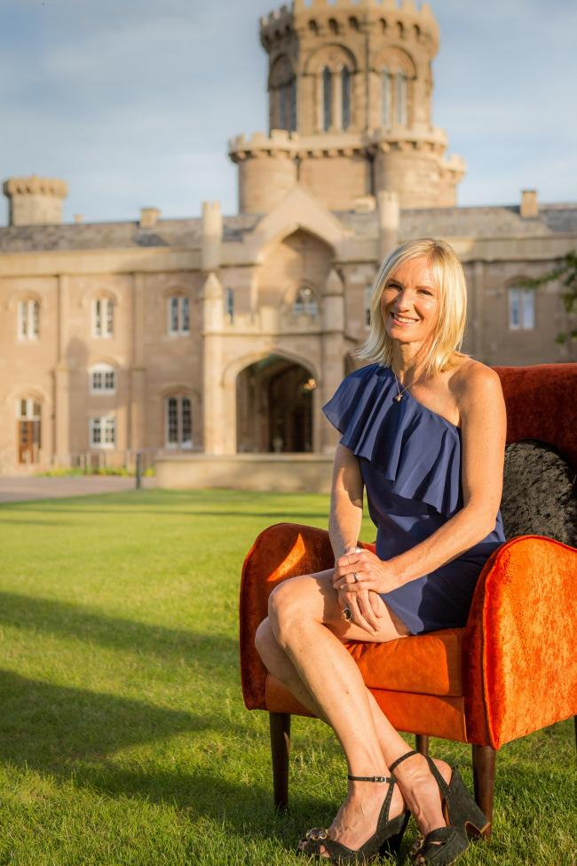 Jo Whiley outside the castle. Photo: Tim Young