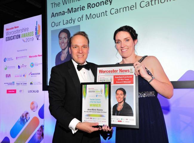 Marcus Hart presents Anna Marie Rooney with her award at the Worcester News Worcestershire Education Awards 2019, held at the University of Worcester Arena. Photo: Jonathan Barry