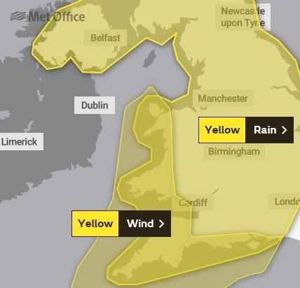 A weather warning will come into force for all day Saturday, covering the whole of Wales and southern and central England