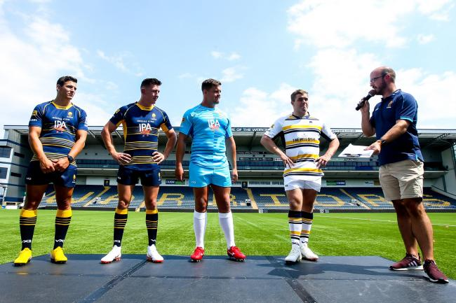 Ryan Mills, Josh Adams, Nick Schonert and Jack Singleton reveal last season's Worcester Warriors kit. Picture: Robbie Stephenson/JMP