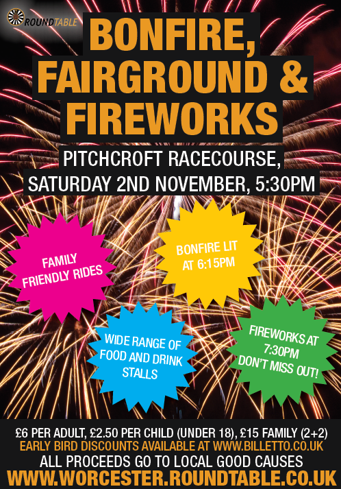 Bonfire, fairground and fireworks