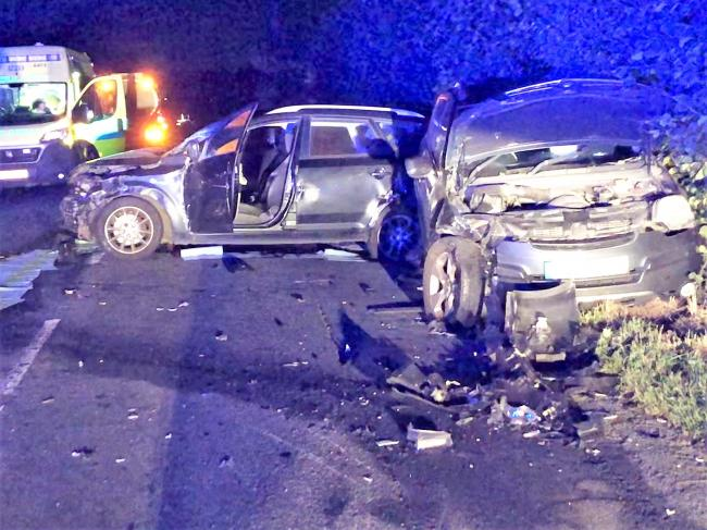 Wreckage on the road after a crash on the A44 at Leominster. Picture: Leominster fire station