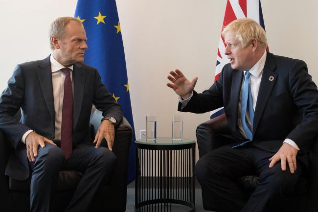 BREXIT: European Council President Donald Tusk meets with Prime Minister Boris Johnson at the United Nations Headquarters in New York. Pic. Stefan Rousseau/PA Wire.