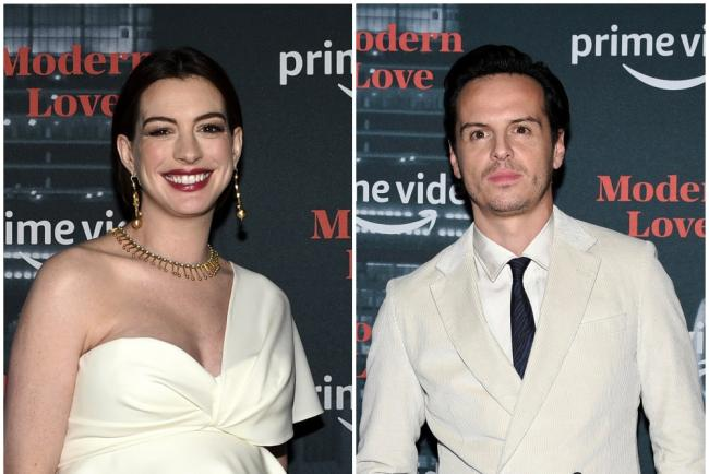 Pregnant Anne Hathaway and 'hot priest' Andrew Scott among stars at NY event