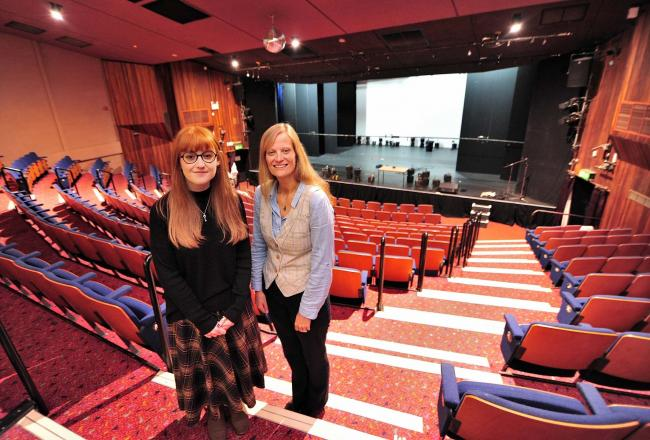 Dr Charley Barnes,(Left) Writer In Residence at The Swan Theatre, Worcester, with Acting Chief Executive Sarah-Jane Morgan. Pic Jonathan Barry 11.10.19.