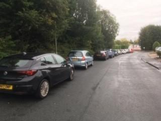 Cars parked in Green Sward Lane just after 5pm on Monday evening.