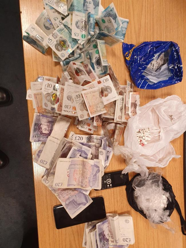 Police discovered a haul of cash and drugs. Photo: Force Response on Twitter.