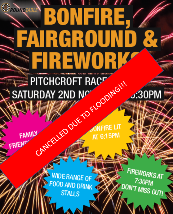 Bonfire, fairground and fireworks CANCELLED!!!