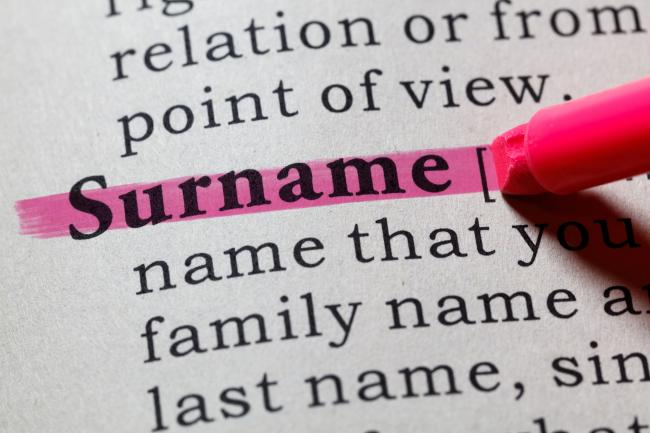 Definition of a surname