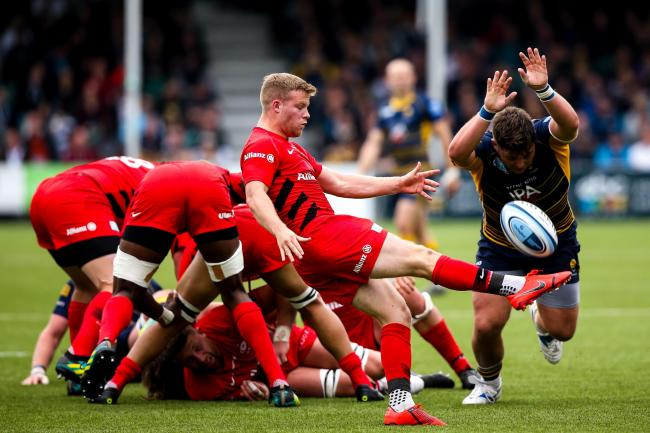 Saracens in action at Sixways. Picture: Robbie Stephenson/JMP