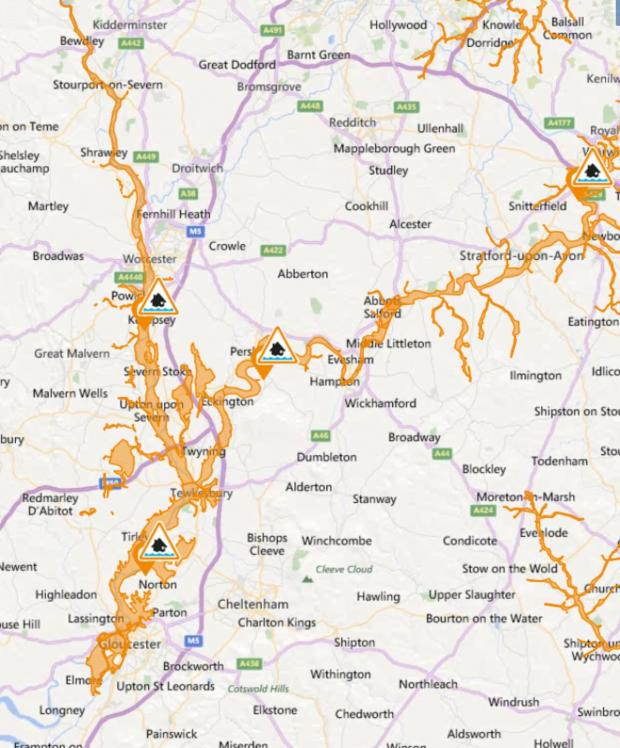 Redditch Advertiser: The flood warning areas
