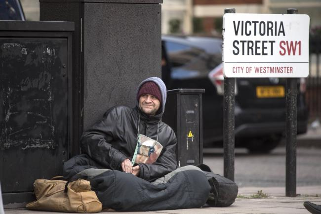 Homeless man on the streets of London