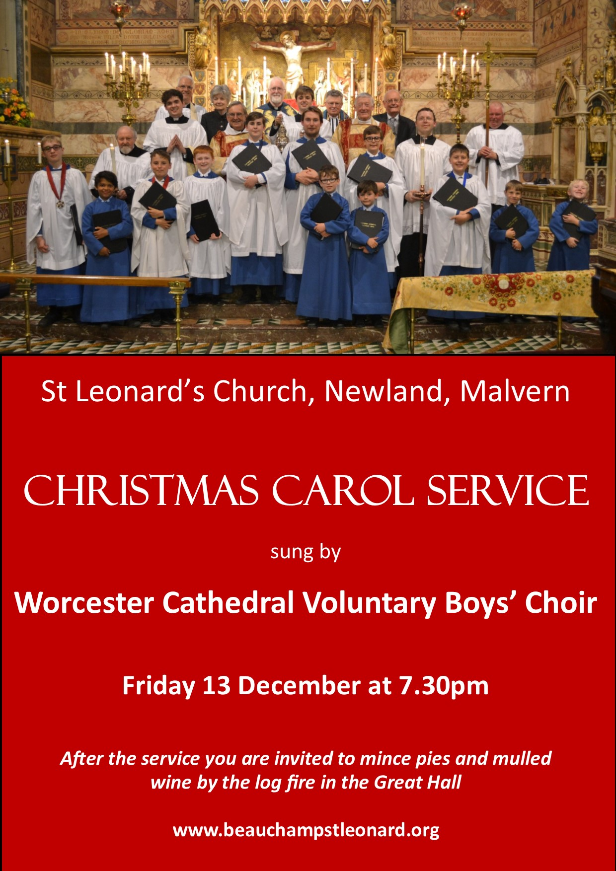Carol Service sung by Worcester Cathedral Voluntary Choir