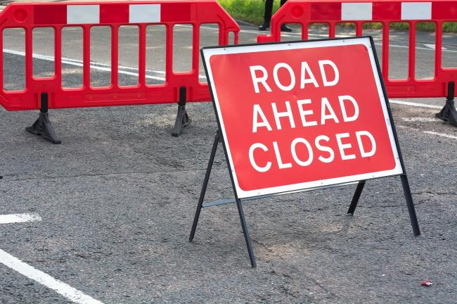 The road is closed for Southern Water to carry out repairs on a burst water main