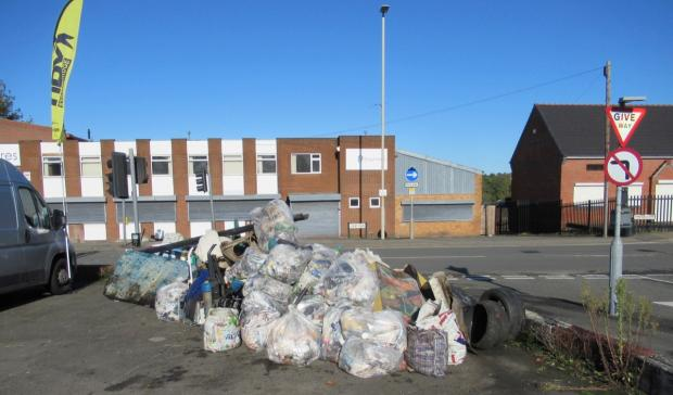 Redditch Advertiser: Rubbish collected during a recent litter pick in Lye