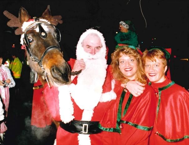 VISIT: Santa visiting Worcester in 1994 joined by his reindeer...sort of.