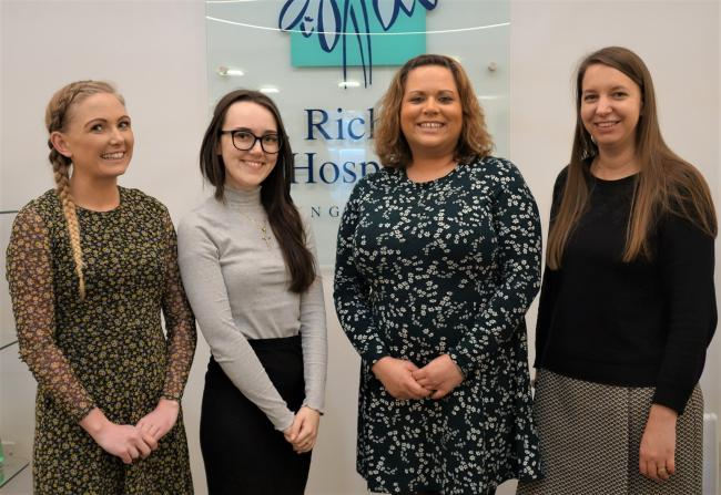 READY: Ellis Lee and Mollie Sheehy of WLS Solicitors, with Ria Simons, from St Richard's Hospice, and Kate Collins, of Bradley Haynes Law