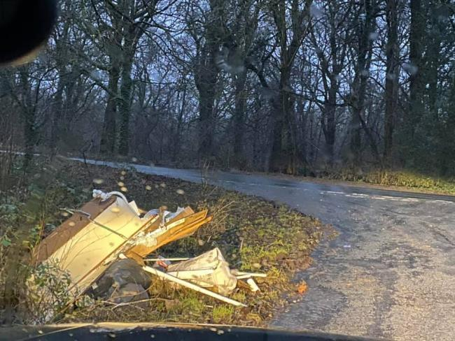 Flytipping at the side of a road near Lea Bailey light railway, south of Ross-on-Wye. Picture: Andrea Wolf