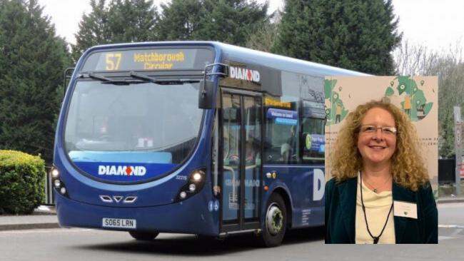 One of Redditch's buses and inset campaigner Claire Davies