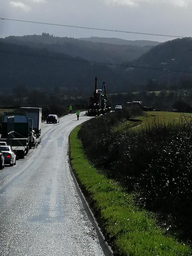 Road temporarily closed between Whitchurch (Symonds Yat) and Pengethley (Harewood End). Police have closed road while two lorries pick large planks from adjacent field. Picture: David Snell