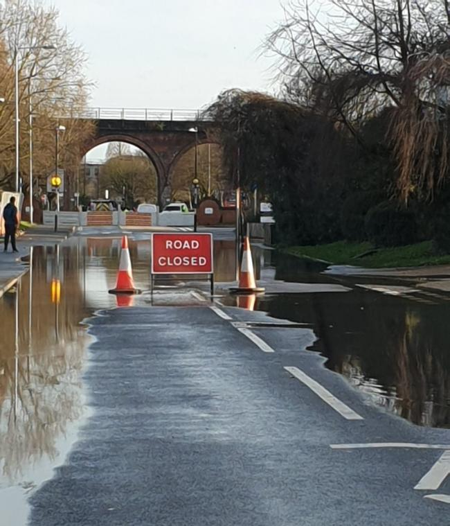 Hylton Road in Worcester has been closed by Storm Dennis floodwaters