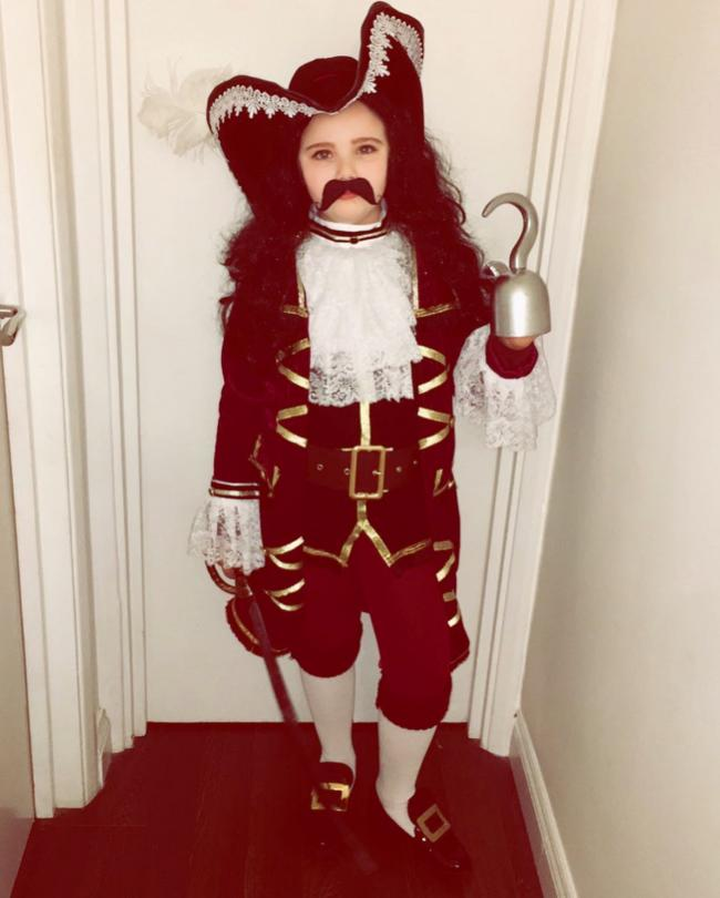 Delilah age 8 as Captain Hook her costume is hand made head to toe and she helped her mum make it!