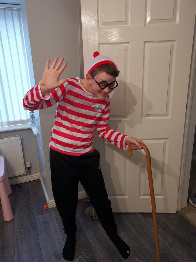 World book day 2020 Scarlett aged 4 as Mary poppins Jaidan aged 12 as Where's wally