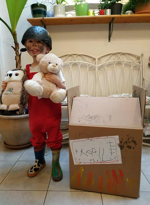 Ronnie Webb, aged 4, dressed as Baby Bear from Whatever Next! by Jill Murphy for World Book Day, 2020.