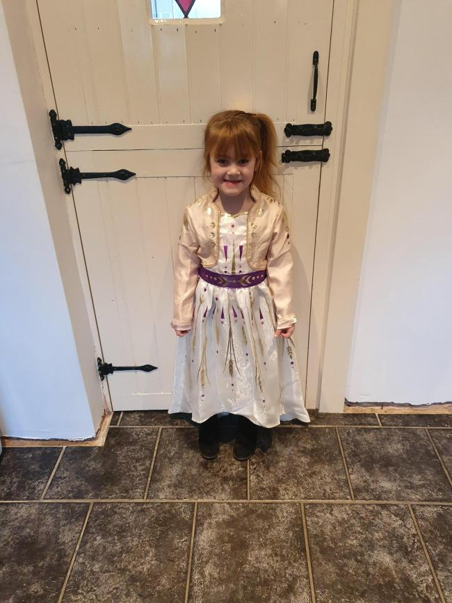 This Is annaya Upton age 5 dressed up as anna from frozen 2.