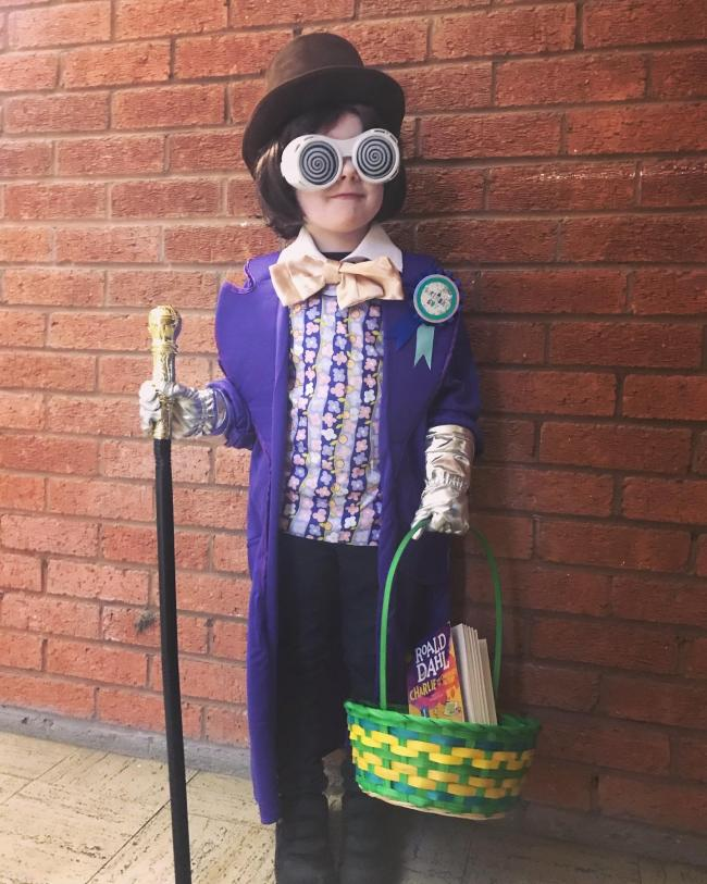 Freddie Worthington-Phillips aged 5 (his birthday is today!) dressed as Willy Wonka. St John's Primary kidderminster