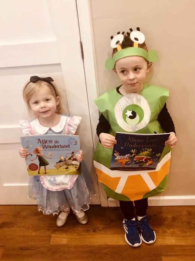 This is Molly, age 3 as Alice in wonderland (the Wendy house day nursery) and William, age 5 as Alien loves underpants (Lickey End First School).