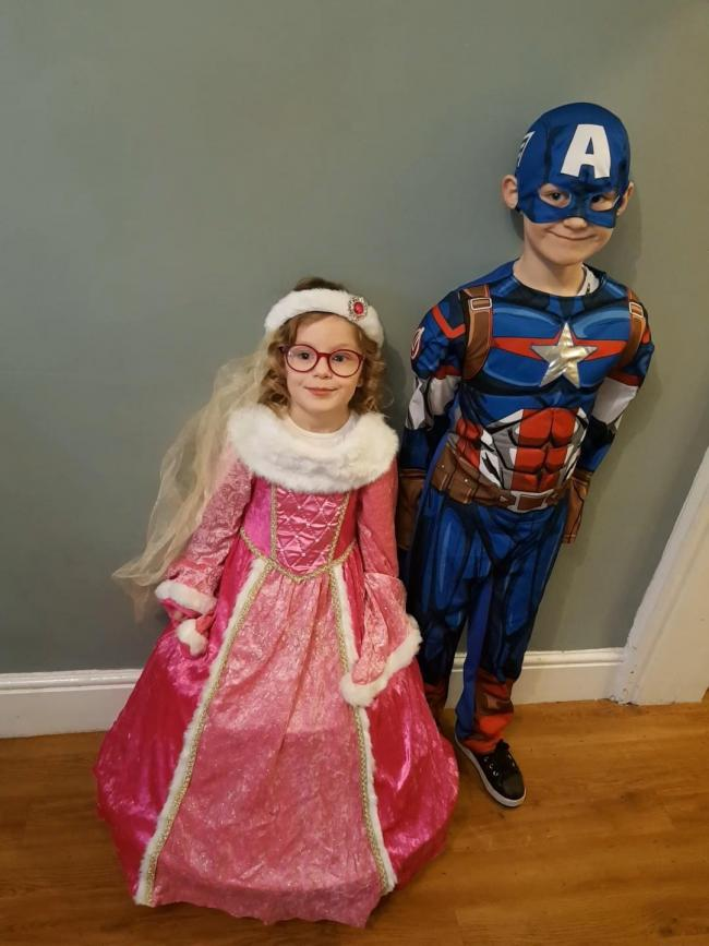 Aurora as Princess Aurora and Spencer as captain America