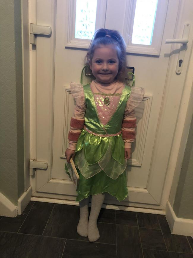Esmee-Kate Eke dressed as tinkerbelle for her Peter Pan themed world book day at school age 4 at foley park school