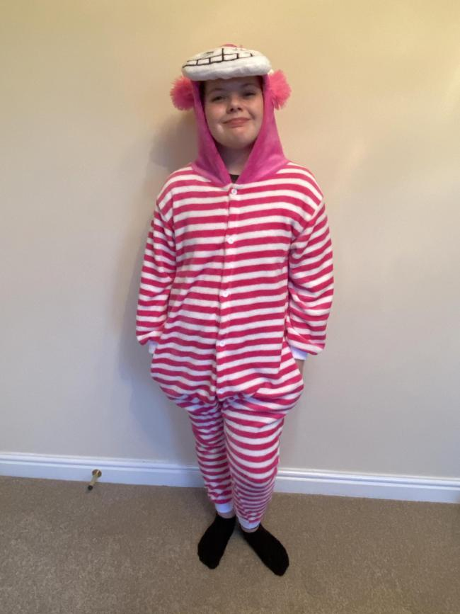 Lily as the Cheshire Cat from Alice in Wonderland, World Book Day 2020