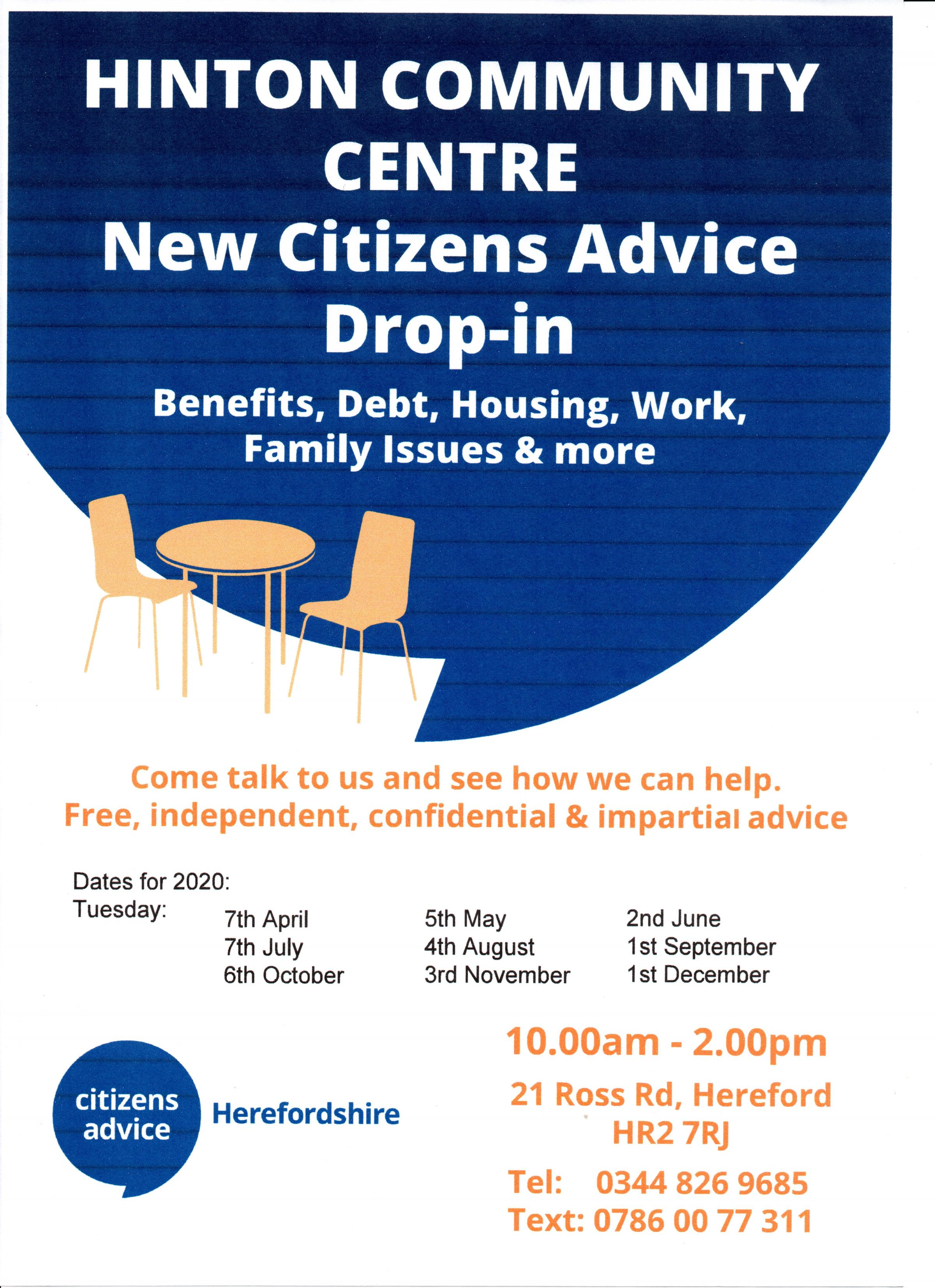 Citizens Advice First Tuesday of Every Month Drop-in Sessions at the Hinton Community Centre