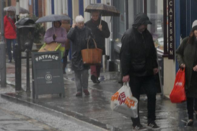 Shoppers in Ludlow Town centre braved the storm