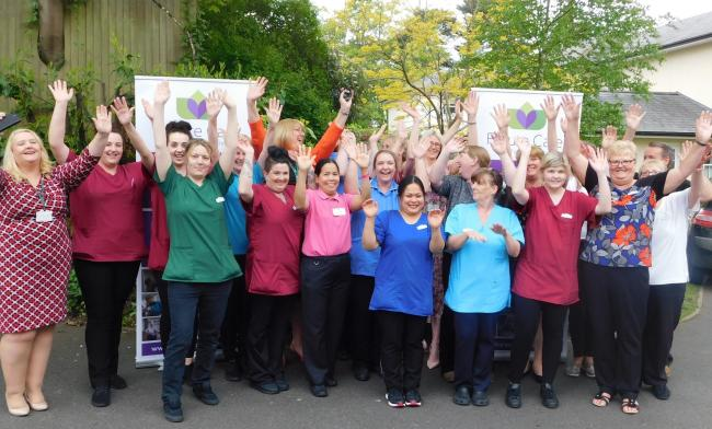 Staff celebrate a good inspection result at Holmwood Care Centre in Kidderminster