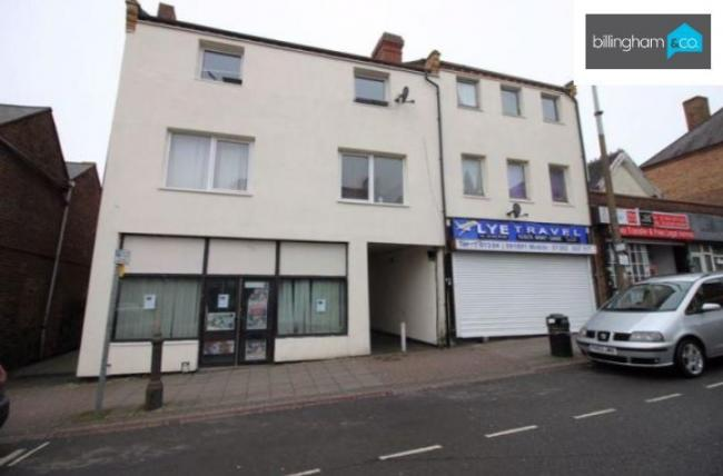 The flat for sale in Lye High Street which has an auction guide price of just £35,000. Pic - Billingham & Co Estate Agents