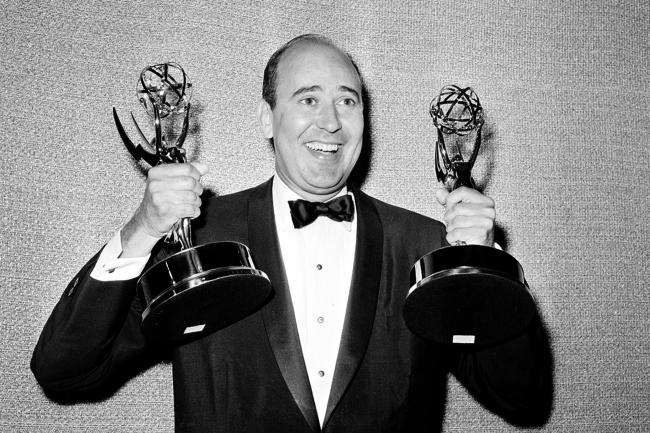 Carl Reiner holds two Emmy statuettes (AP)