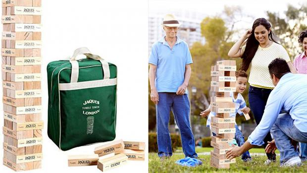 Redditch Advertiser: This big tumbling blocks game ups the stakes. Credit: Jaques of London / Amazon