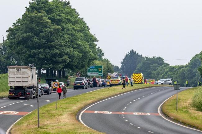 The A449 was closed near Stourport after the crash in May 2018