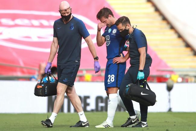 Chelsea captain Cesar Azpilicueta is substituted after suffering a hamstring injury during the Heads Up FA Cup final defeat against Arsenal at Wembley