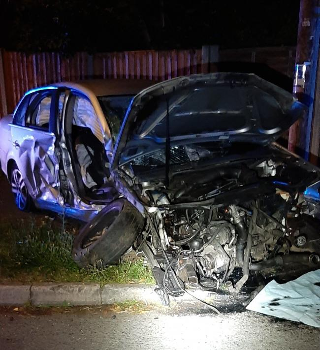 A car crashed into a tree on Bromsgrove Road in the early hours of the morning. PIC: West Mercia Police
