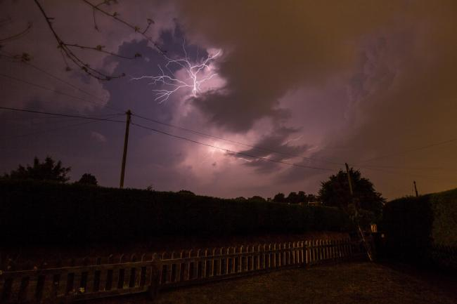 Lightning over Habberley Valley on Tuesday night. Photo by Dan Hunt