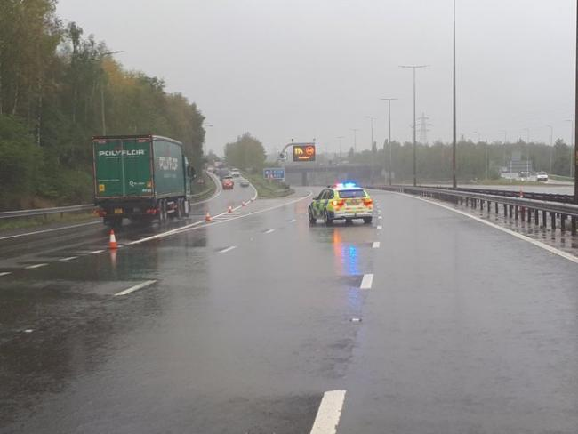 The M5 has been closed in both directions following a crash near Worcester. Picture: OPU Worcestershire