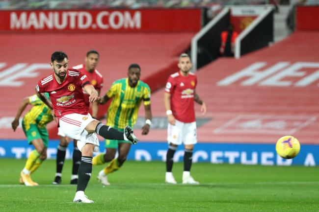 Bruno Fernandes scored from the penalty spot against West Brom