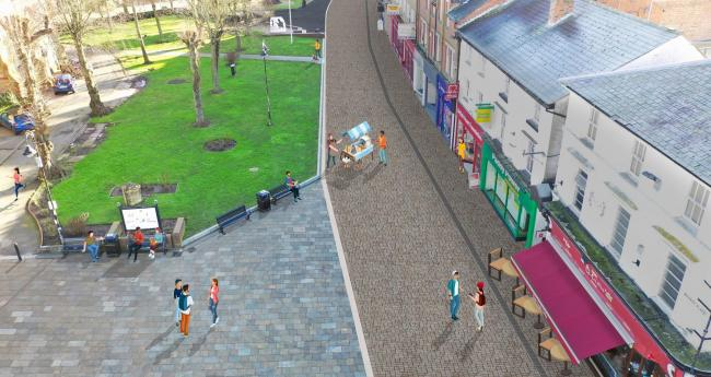 An artist's impression of the new improvements to Market Place, Redditch
