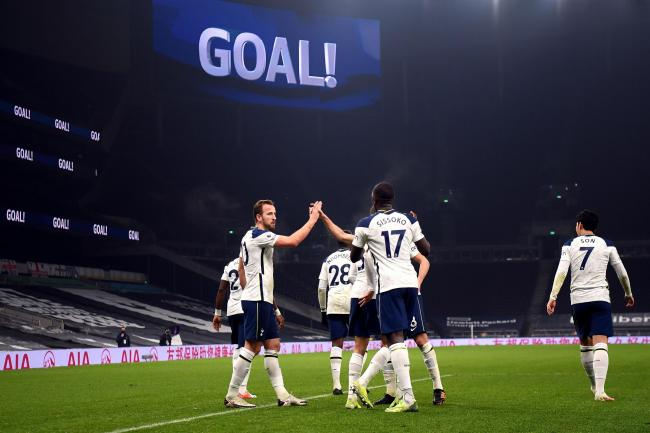 Tottenham players celebrate after Harry Kane's goal against Fulham.