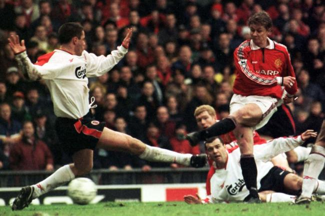 Ole Gunnar Solskjaer scores against Liverpool in 1999