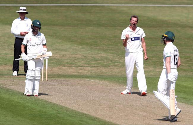 Glamorgan's Michael Hogan (centre right) celebrates the wicket of Worcestershire's Jack Haynes during day one of The Bob Willis Trophy match at Blackfinch New Road, Worcester..